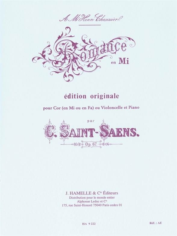 Camille Saint-Saëns - Romance in E opus 67 - Partition - di-arezzo.co.uk