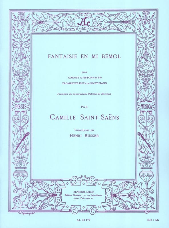 Camille Saint-Saëns - Fantasy In E Flat - Partition - di-arezzo.co.uk