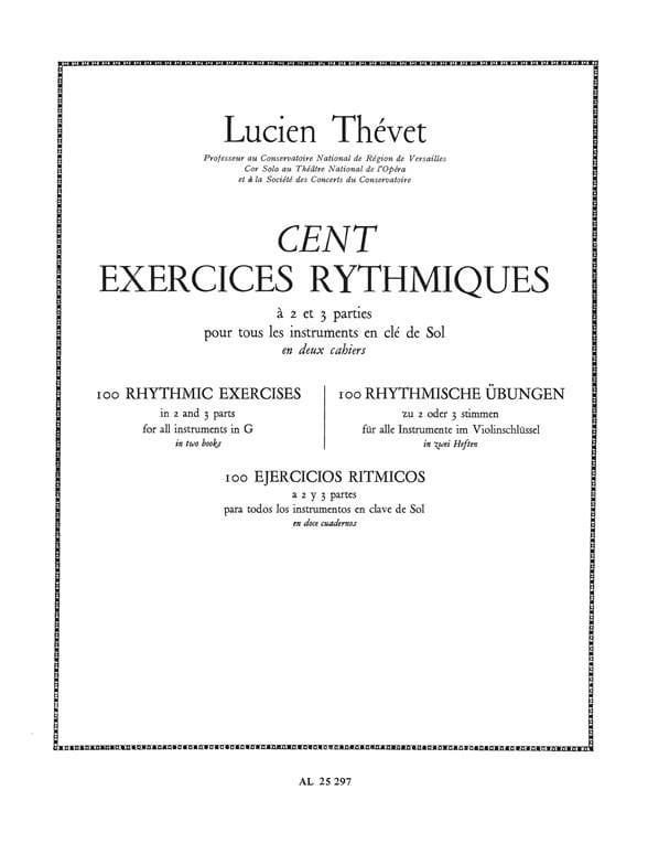Lucien Thévet - 100 Two-Part Rhythmic Exercises Volume 1 - Partition - di-arezzo.com
