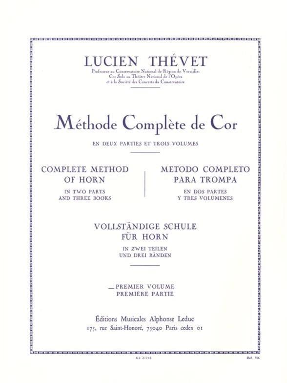 Lucien Thévet - Complete Method Volume 1 - Partition - di-arezzo.com