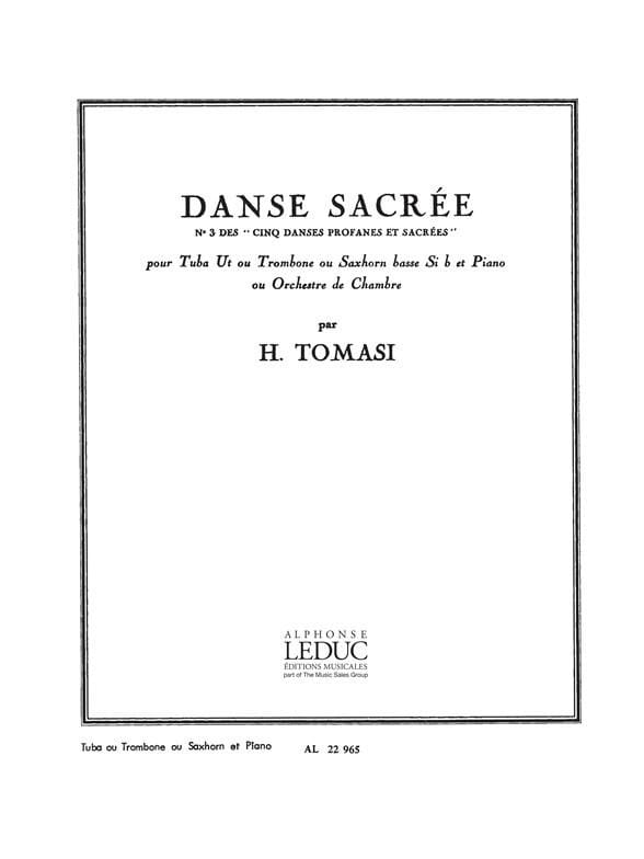 Danse Sacrée - TOMASI - Partition - Tuba - laflutedepan.com