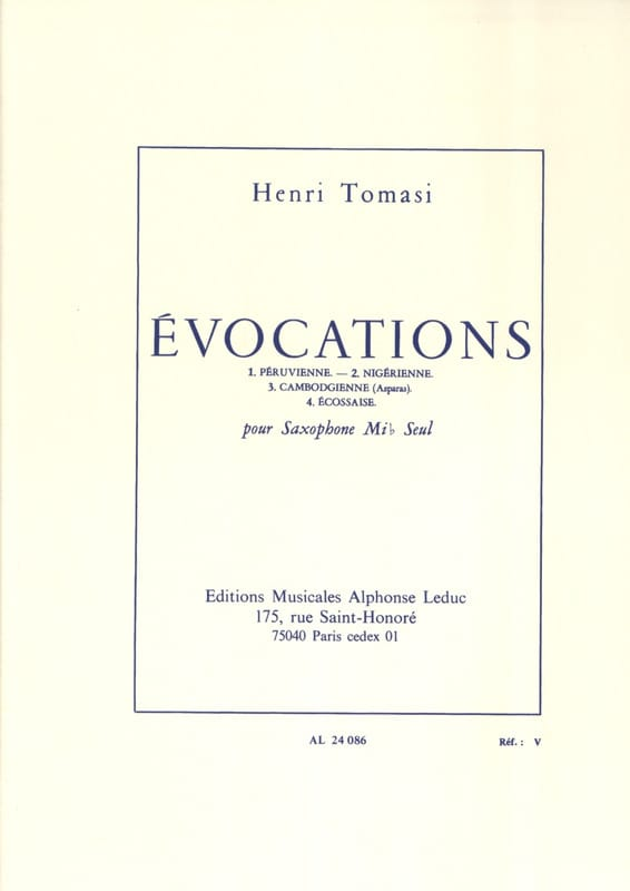 Henri Tomasi - Evocations - Partition - di-arezzo.co.uk