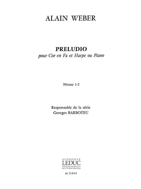 Alain Weber - Preludio - Partition - di-arezzo.com