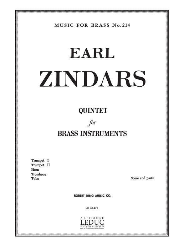 Quintet - Earl Zindars - Partition - laflutedepan.com