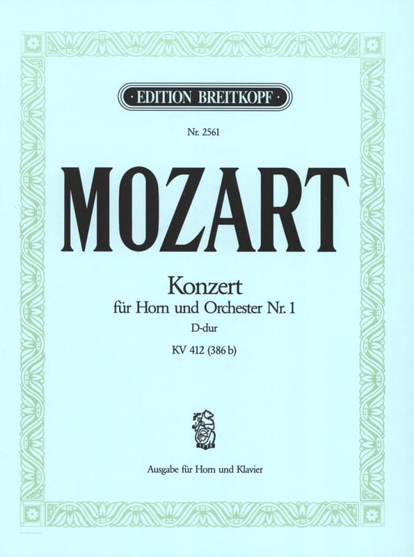 MOZART - Concerto for Horn No. 1 D-Dur KV 412 386b - Partition - di-arezzo.com