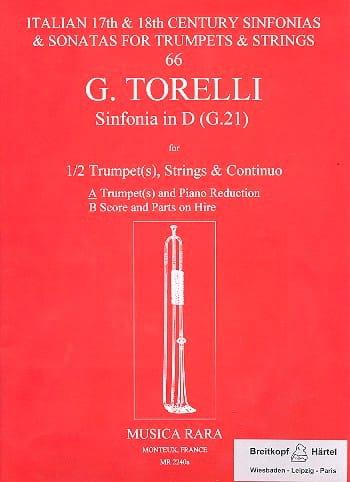 Sinfonia In D G.21 - Giuseppe Torelli - Partition - laflutedepan.com
