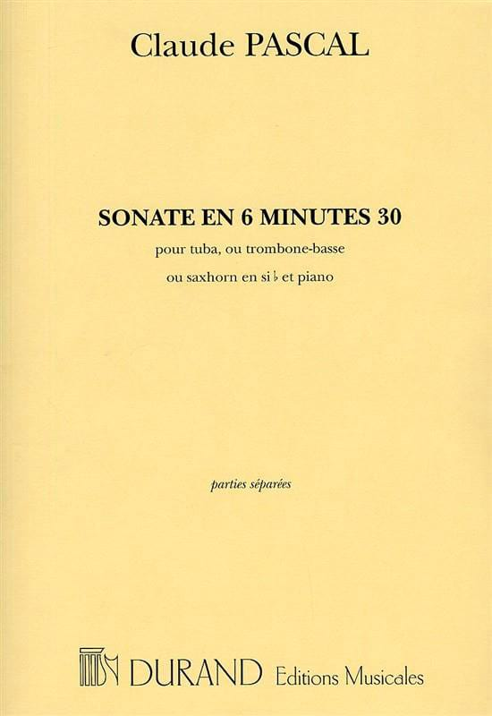 Claude Pascal - Sonata In 6 Minutes 30 - Partition - di-arezzo.co.uk