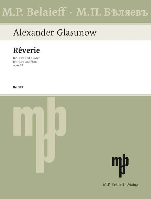 Alexander Glazounov - Reverie Opus 24 - Partition - di-arezzo.co.uk
