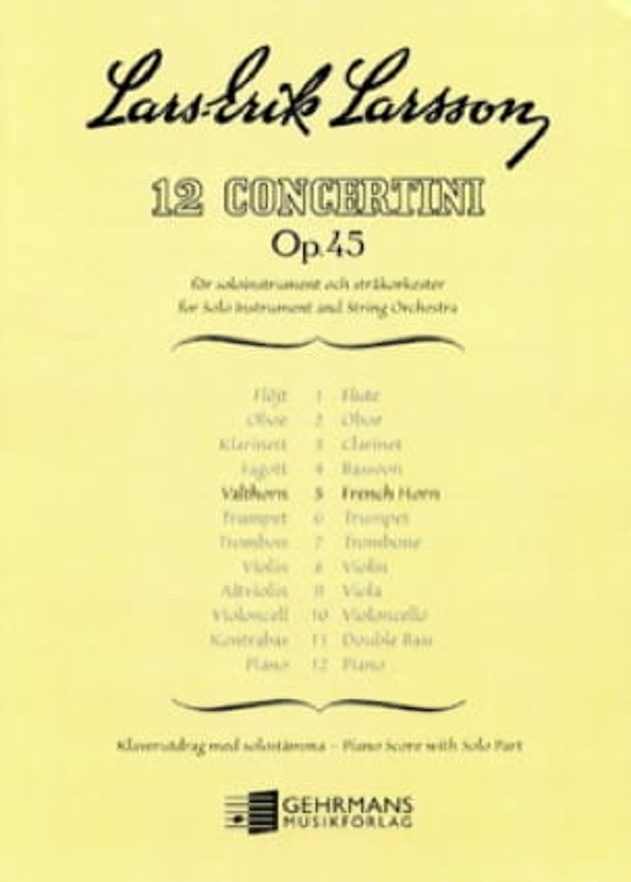 Lars-Erik Larsson - Concertino Opus 45 N ° 5 - Partition - di-arezzo.com