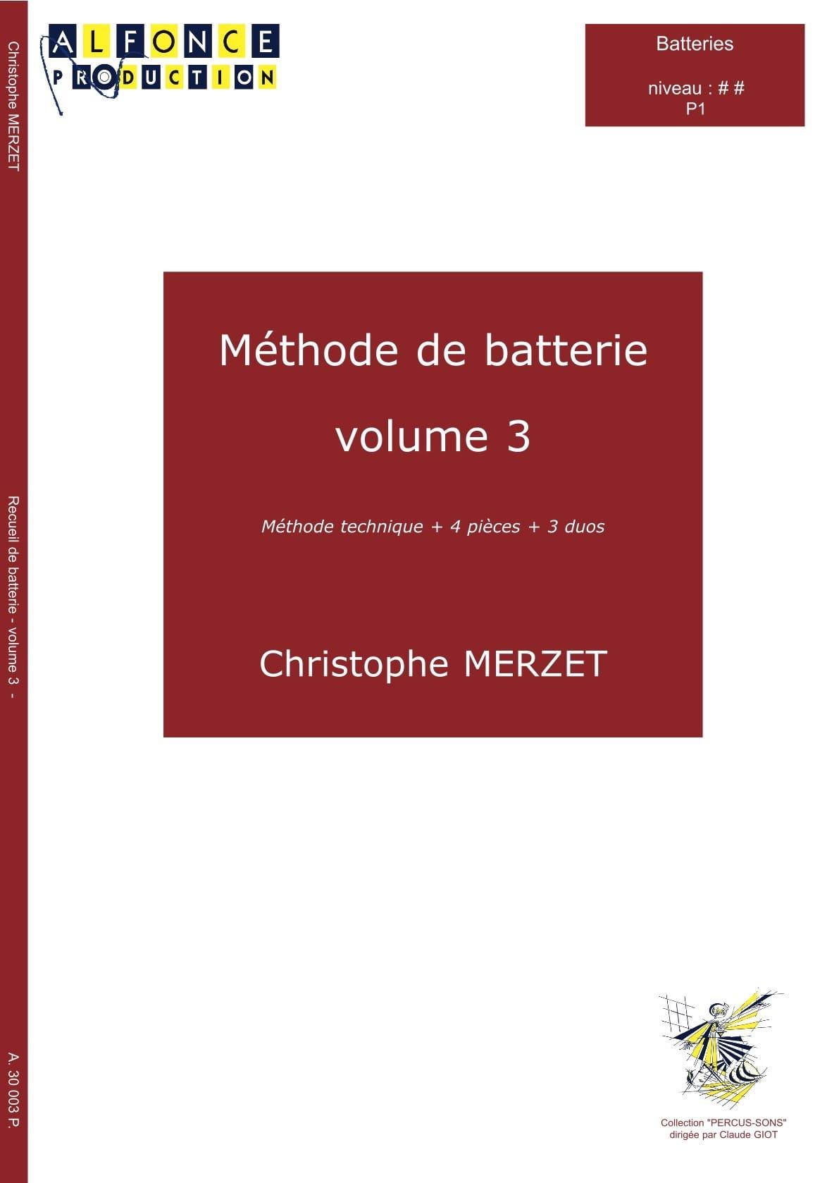 Christophe Merzet - Método de la batería Volumen 3 - Partition - di-arezzo.es