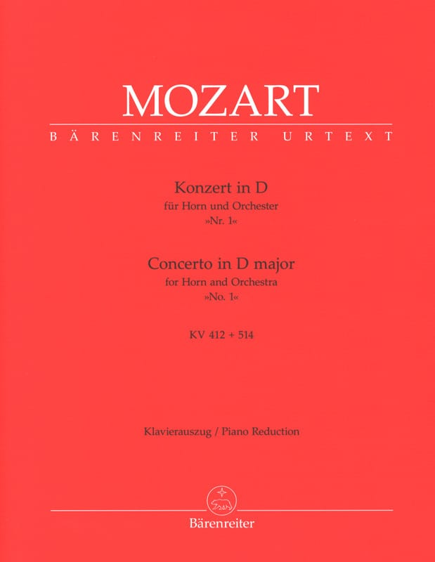 MOZART - Concerto No. 1 In D Major KV 412 514 - Partition - di-arezzo.com