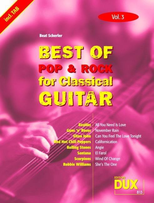 Best of pop & rock for classical guitar volume 3 - laflutedepan.com