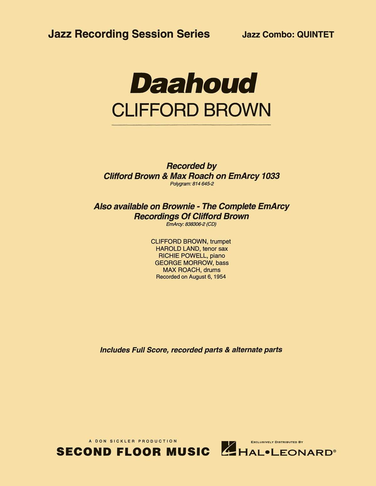 Daahoud - Clifford Brown - Partition - ENSEMBLES - laflutedepan.com