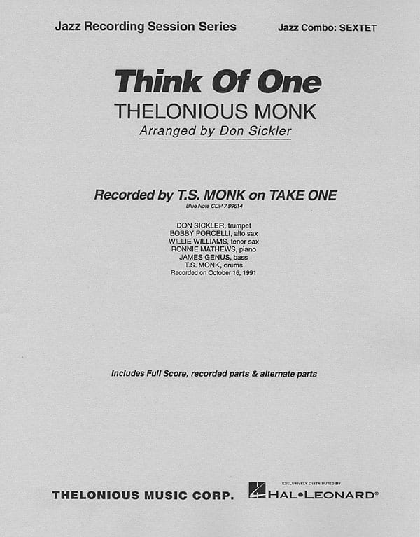 Think Of One - Thelonious Monk - Partition - laflutedepan.com