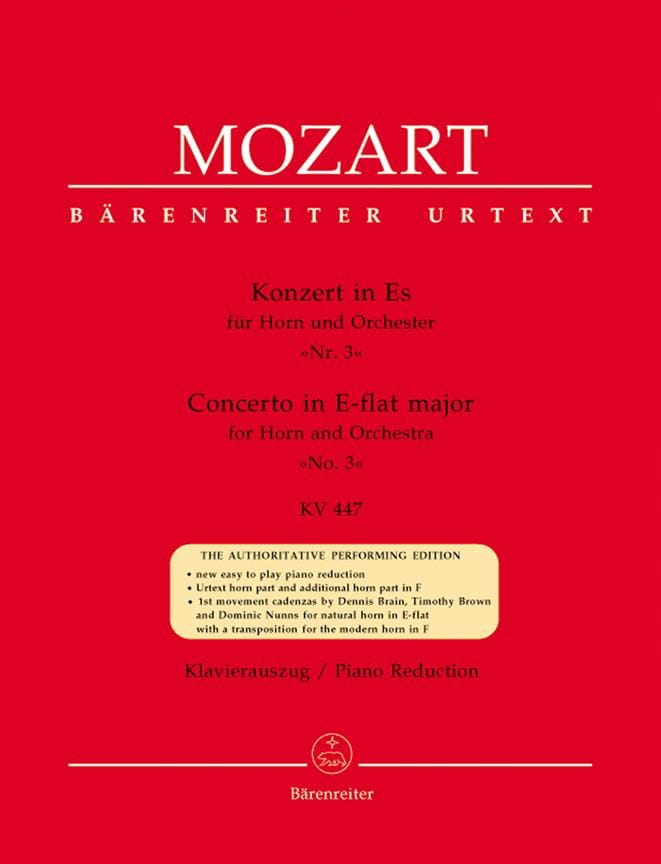 MOZART - Concerto No. 3 In Es KV 447 - Partition - di-arezzo.com