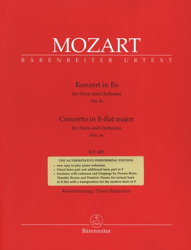 MOZART - Concerto N° 4 In E-Flat Major KV 495 - Partition - di-arezzo.fr
