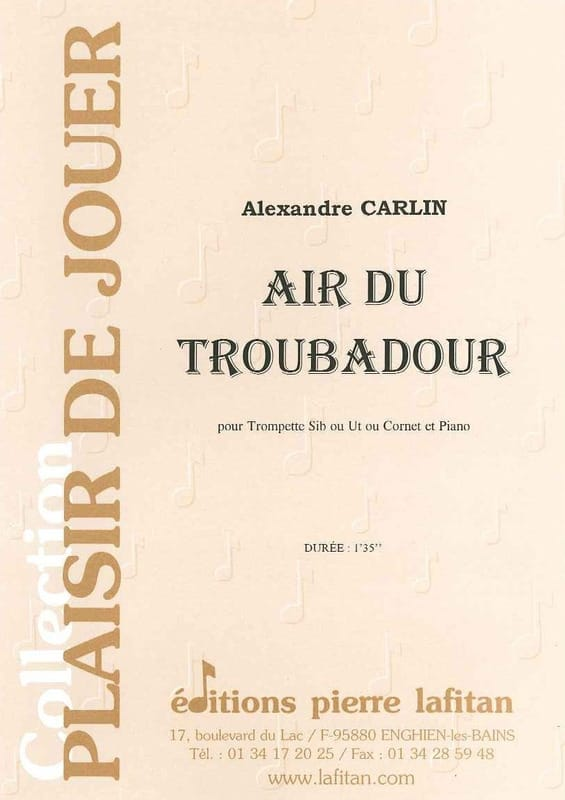 Alexandre Carlin - Air of the troubadour - Partition - di-arezzo.co.uk