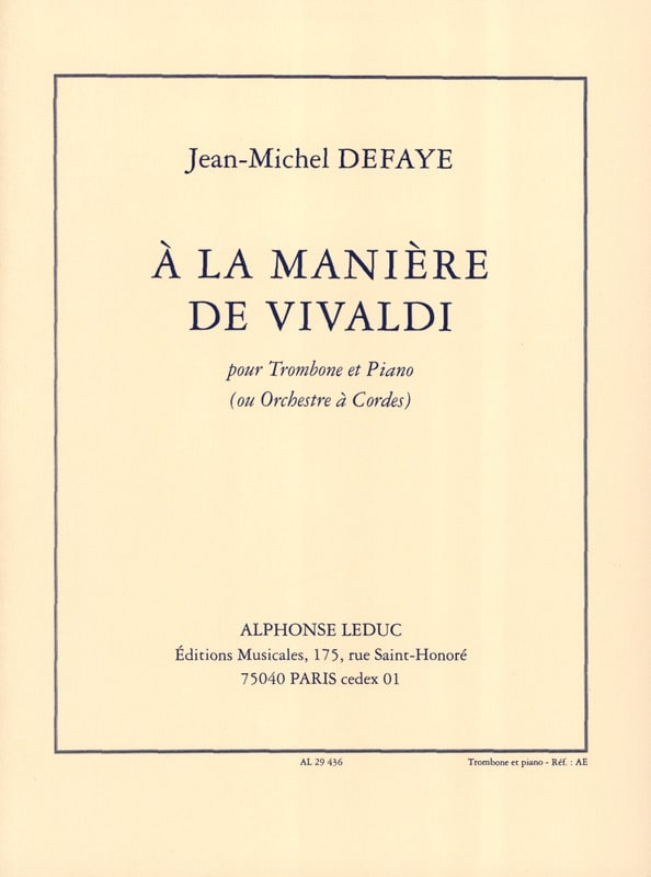 Jean-Michel Defaye - In the Way of Vivaldi - Partition - di-arezzo.com