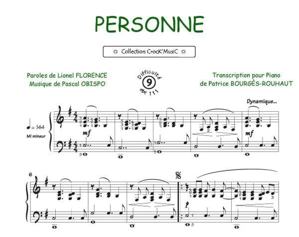 Pascal Obispo - Personne - Partition - di-arezzo.ch