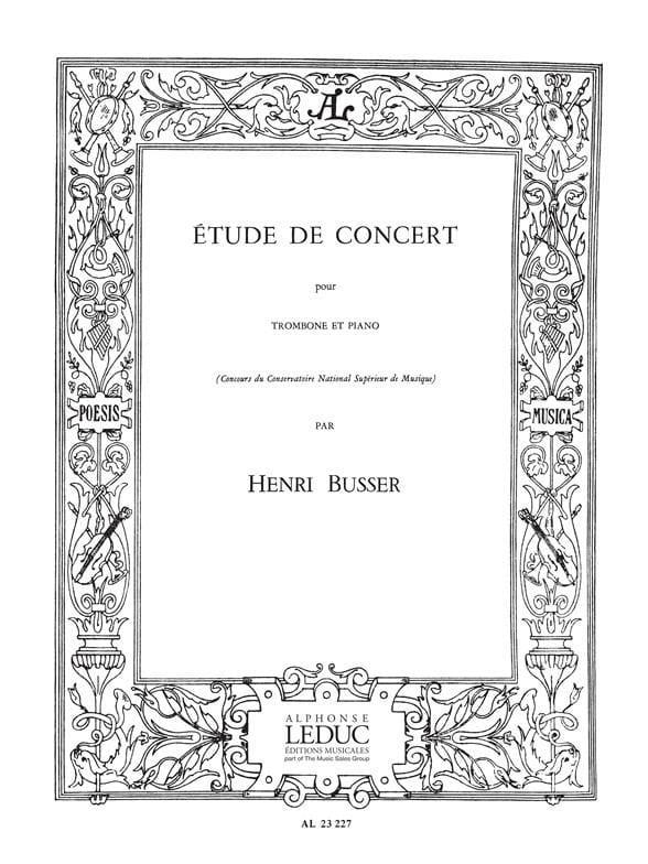 Henri Busser - Concert Study - Partition - di-arezzo.com