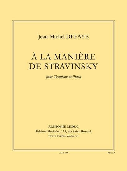 Jean-Michel Defaye - In the Stravinsky Way - Partition - di-arezzo.com