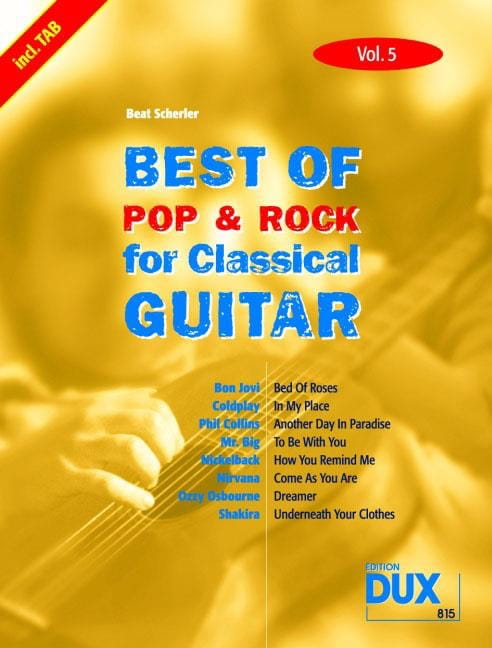 Best of pop & rock for classical guitar volume 5 - laflutedepan.com