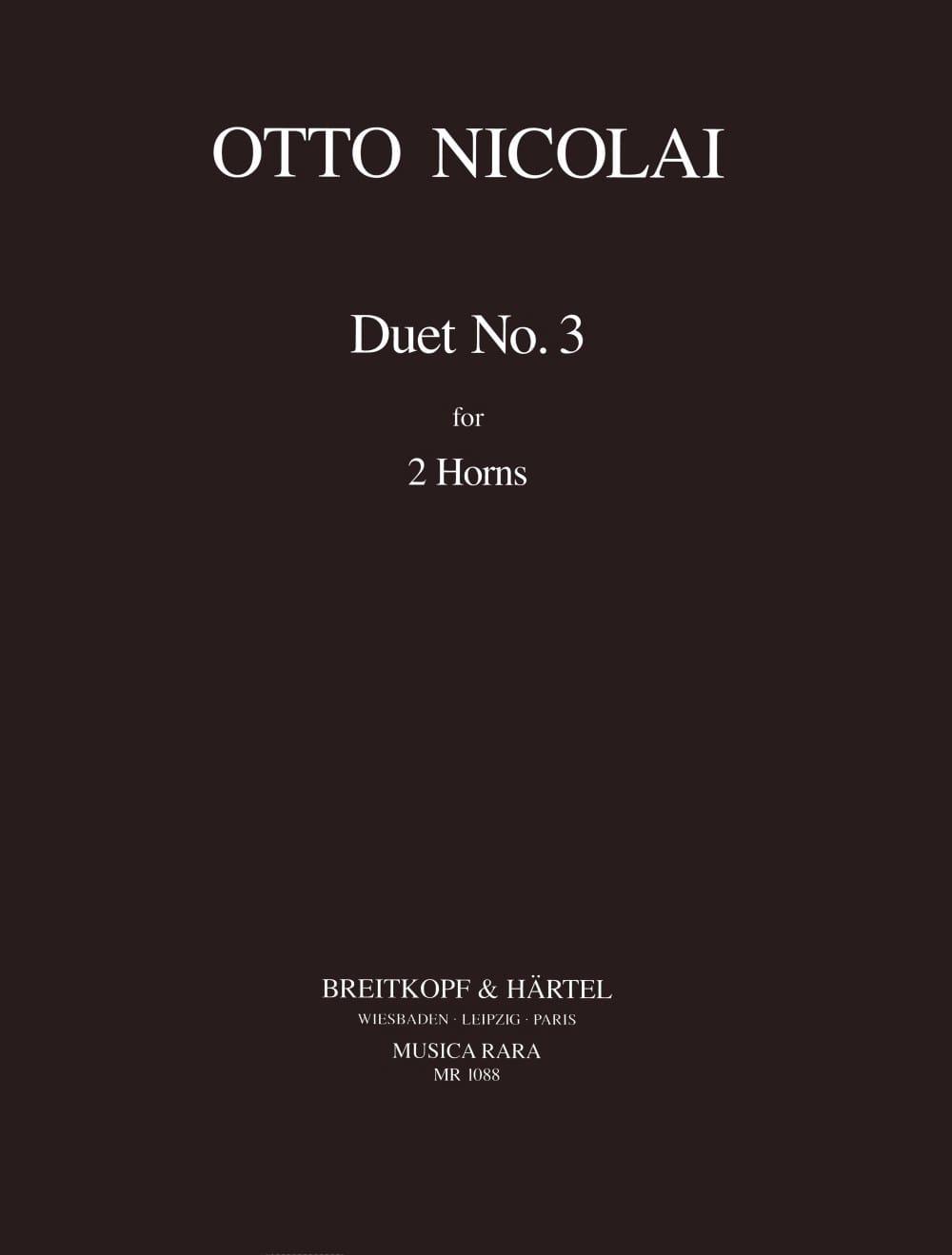 Otto Nicolai - Duet N° 3 pour 2 cors - Partition - di-arezzo.fr
