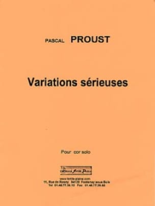 Variations sérieuses - Pascal Proust - Partition - laflutedepan.com