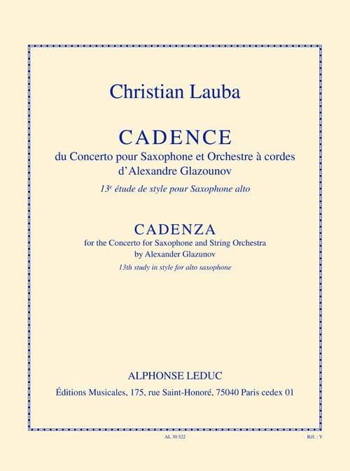 Christian Lauba - 13ème Etude de Style - Cadence - Partition - di-arezzo.fr