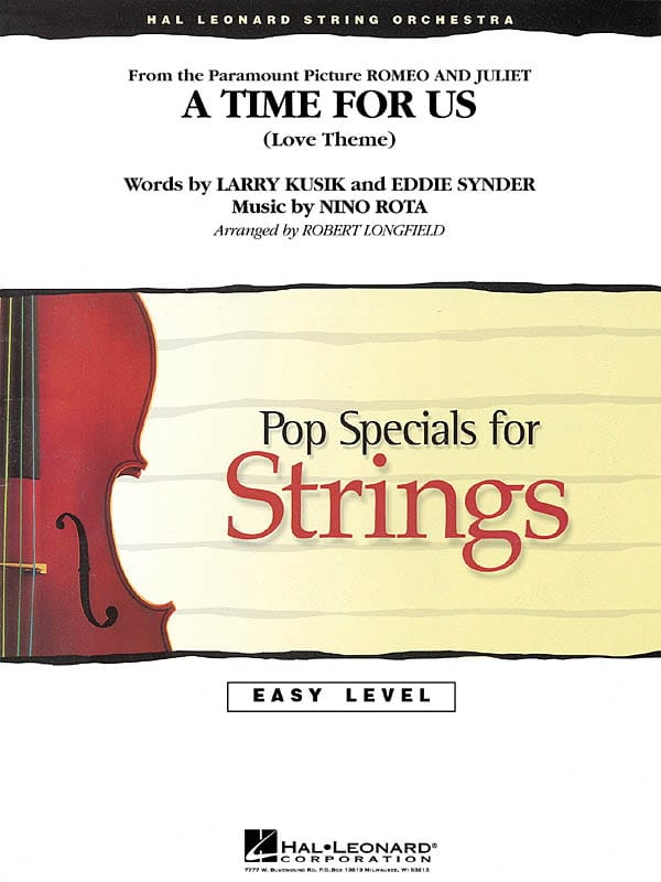 A Time For Us (Romeo and Juliet) - Easy pop specials for strings - laflutedepan.com