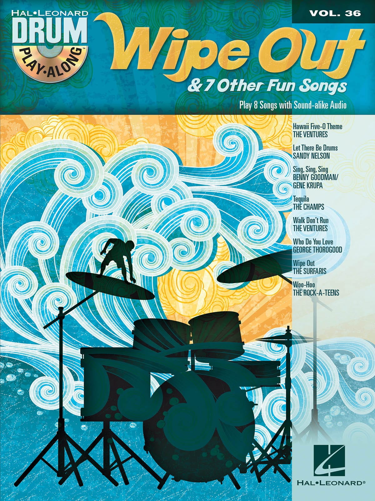 Drum Play-Along Volume 36 - Wipe Out & 7 Other Fun Songs - laflutedepan.com