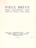 Pièce Brève Eugène Bozza Partition Saxophone - laflutedepan.com