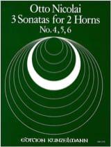 Otto Nicolai - 3 Sonatas N° 4, 5, 6 - Partition - di-arezzo.fr