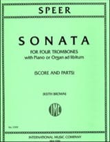 Sonata Daniel Speer Partition Trombone - laflutedepan.com