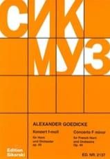 Alexander Goedicke - Concerto In F Minor Opus 40 - Sheet Music - di-arezzo.com