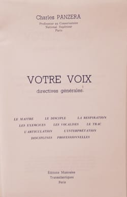 Charles PANZERA - Votre voix : directives générales - Livre - di-arezzo.fr