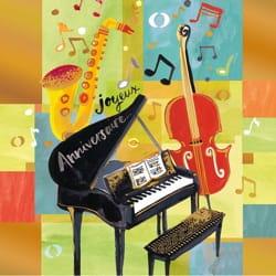 Carte - Joyeux anniversaire piano & instruments - laflutedepan.com