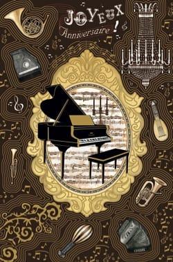 Carte - Joyeux anniversaire piano noir - Carte - laflutedepan.com
