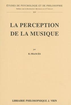 La perception de la musique Robert FRANCÈS Livre laflutedepan