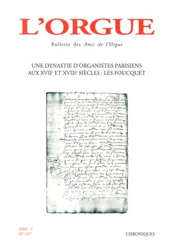 L'orgue, n° 257 (2002/I) Revue Livre Revues - laflutedepan