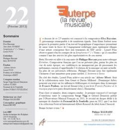 Euterpe, la revue musicale - N° 22 Revue Livre Revues - laflutedepan