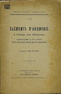 Jacques DURAND - Elements of harmony for beginners - Book - di-arezzo.co.uk
