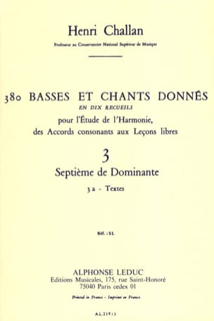 Henri CHALLAN - 380 BASSES ET CHANTS DONNES, vol 3A: textes - Book - di-arezzo.com