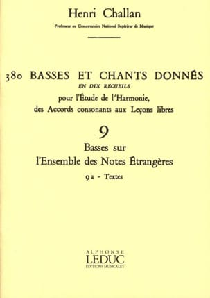 Henri CHALLAN - 380 Basses and songs given - 9a - Texts - Book - di-arezzo.com