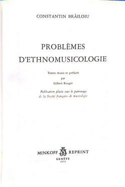 Problèmes d'ethnomusicologie - Constantin BRAILOIU - laflutedepan.com