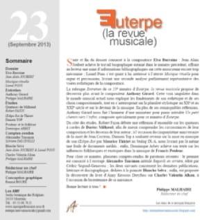 Euterpe, la revue musicale - N° 23 - Revue - Livre - laflutedepan.com