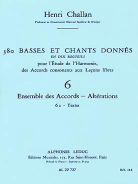 380 BASSES ET CHANTS DONNES,vol 6A: textes - laflutedepan.com