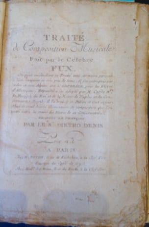 Traité de composition musicale fait par le célèbre Fux - laflutedepan.com