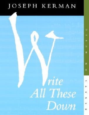 Write all these down - Joseph KERMAN - Livre - laflutedepan.com
