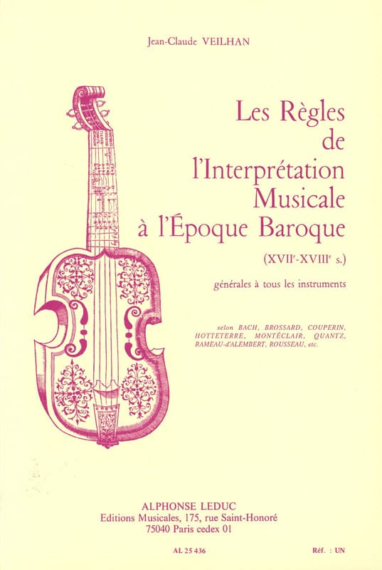 VEILHAN Jean-Claude - The rules of musical performance in the Baroque period - Livre - di-arezzo.co.uk